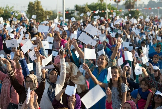 Supporters of the ruling Islamist Justice and Development Party (PJD) gather in Sale on October 6 , 2016