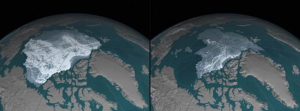 NASA's Images of Change: Arctic sea ice decline (Credit: NASA)