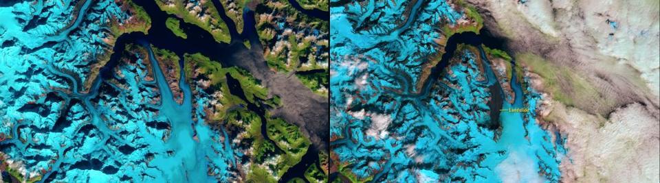 NASA's Images of Change: Glacier Bay landslide (Credit: NASA)