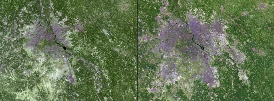 NASA's Images of Change: New Delhi Urban Expansion (Credit: NASA)
