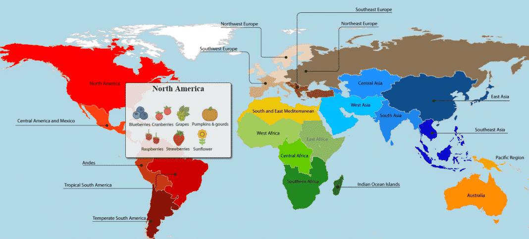 Map showing origin of food crops