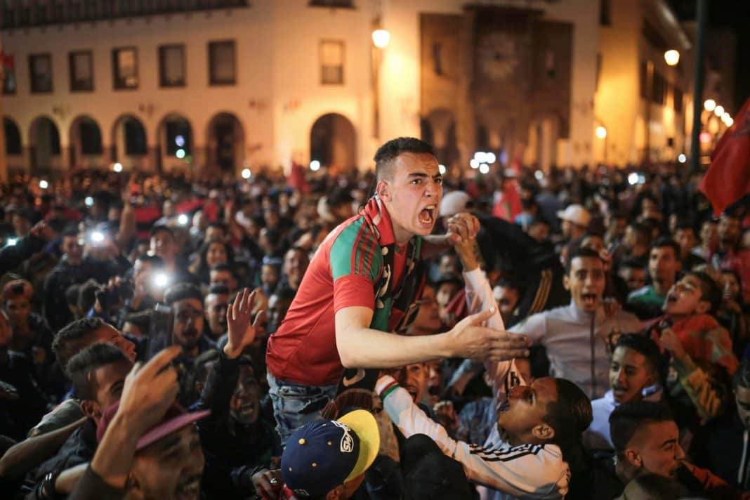 Moroccan fans flooded to the streets of Marrakech