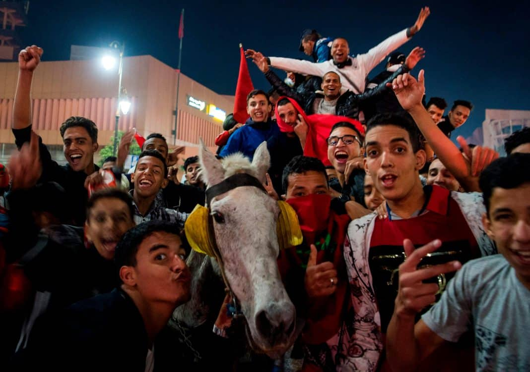 Moroccan fans celebrate in Marrakech...with a horse