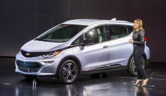Mary Barra showing the GM-Bolt