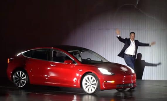 Musk showing Model 3